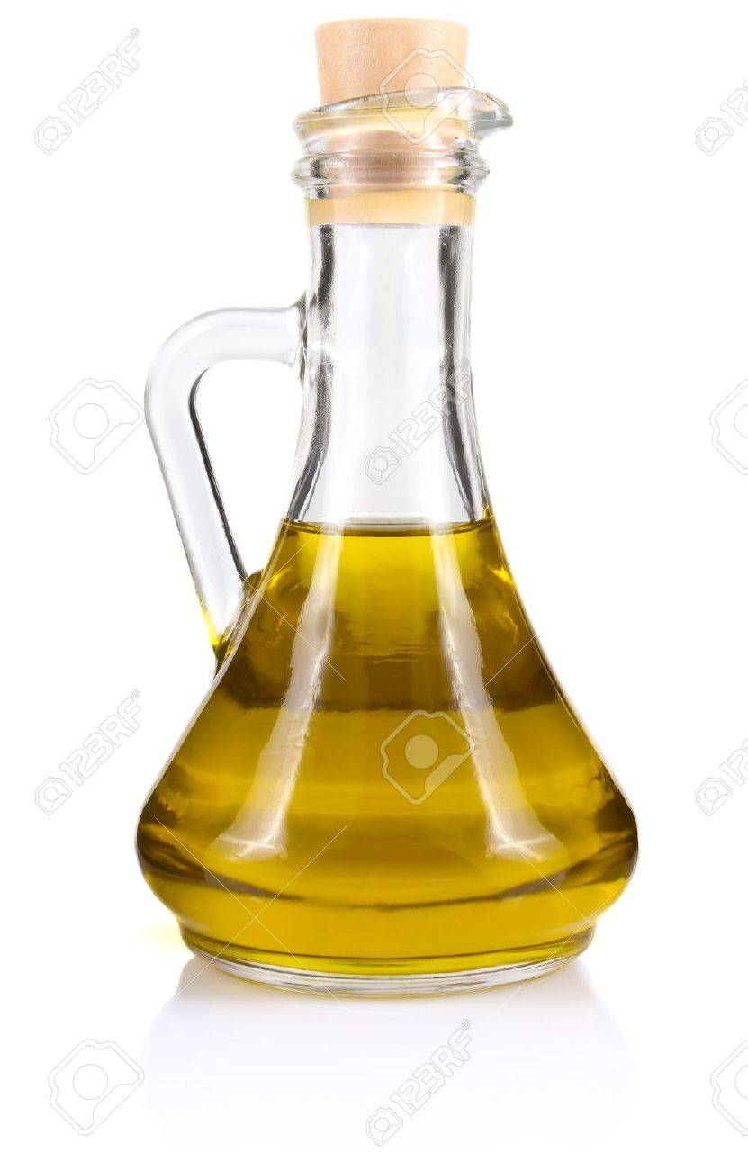 Olive Oil In Bottle Isolated On White Background