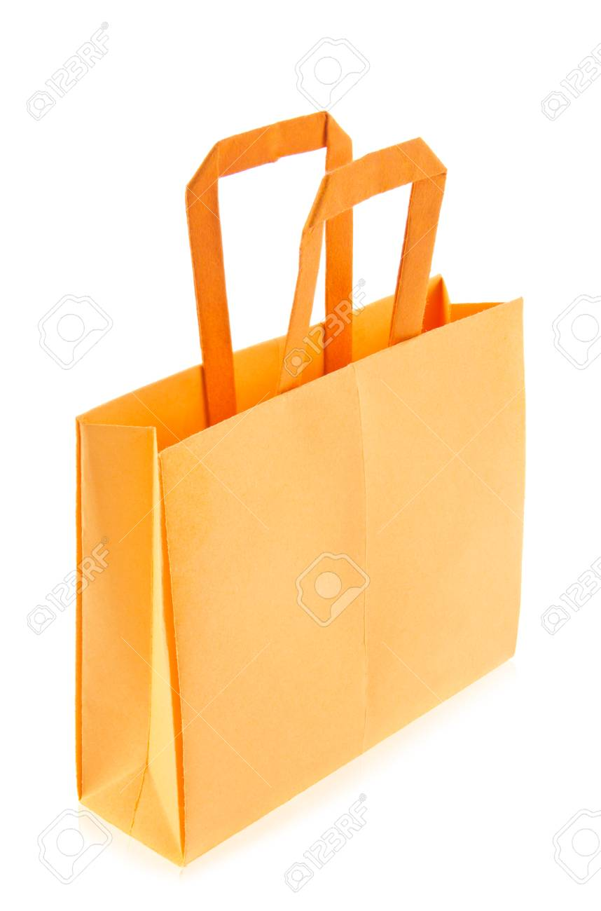 Orange Shop Bag Of Origami Isolated On White Background