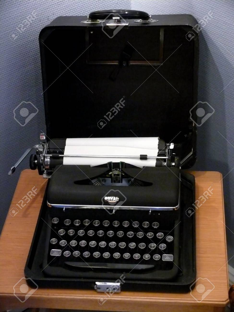 portrait of an old typewriter with paper Stock Photo - 3415834