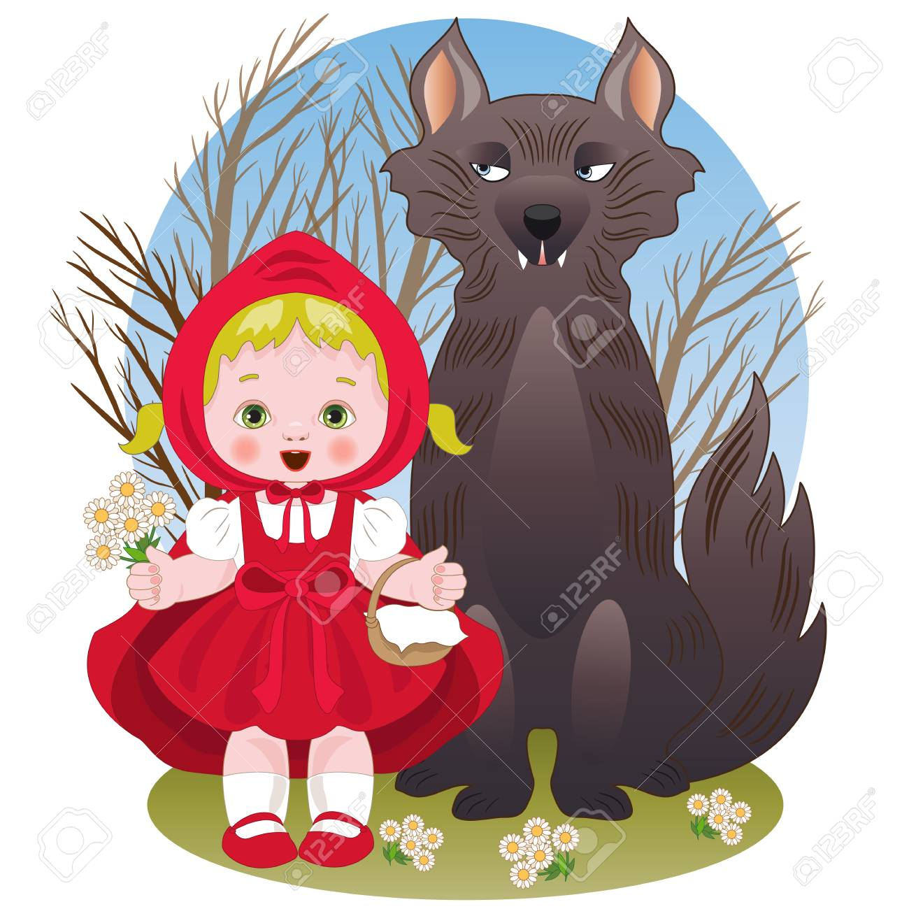 Little Red Riding Hood With The Wolf Royalty Free Cliparts