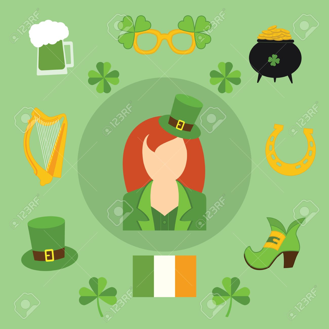 Happy St Patricks Day Vector Illustration Icons Traditional Royalty Free Cliparts Vectors And Stock Illustration Image 36904243