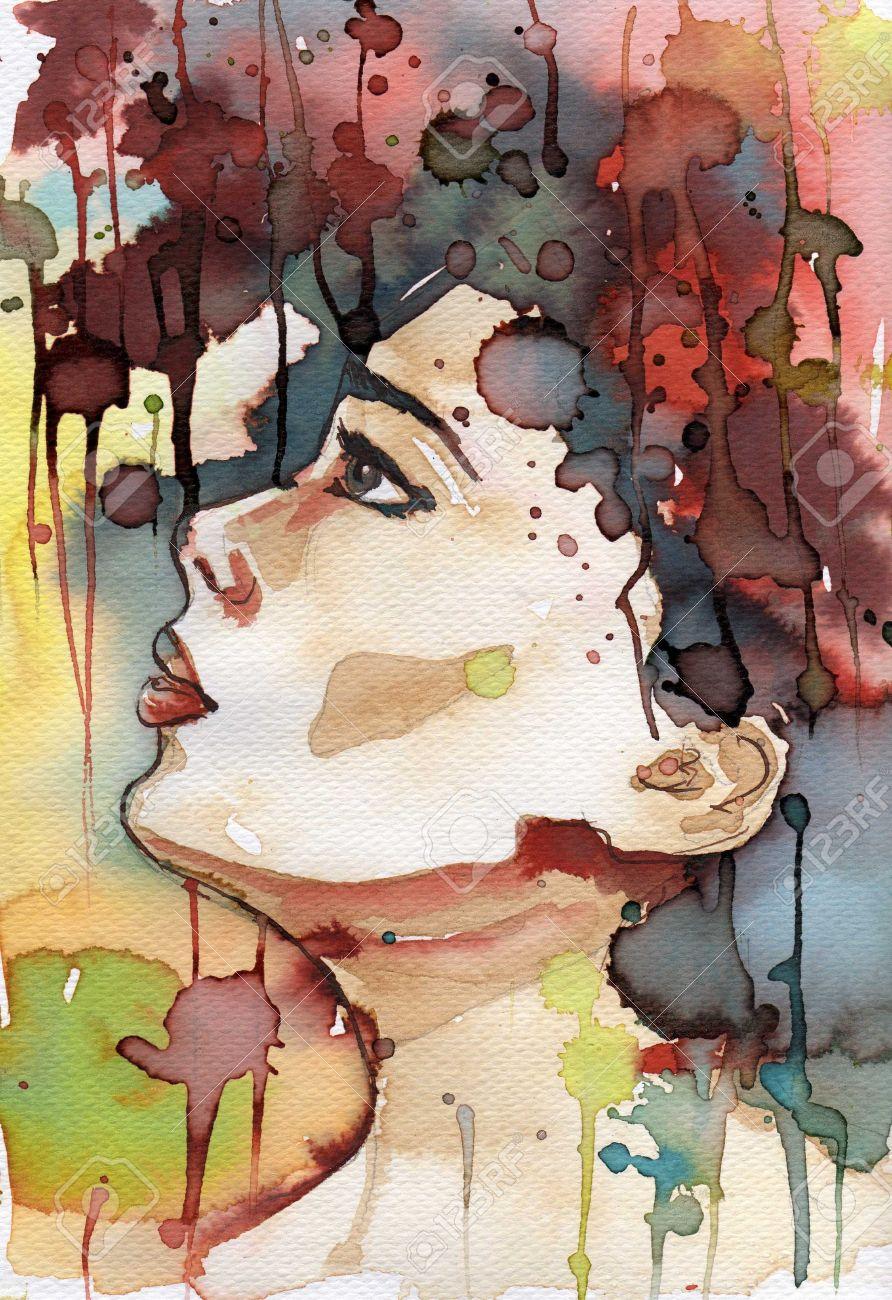 Ejemplo De La Acuarela Para Pintar El Retrato De La Fantasía De Una Niña