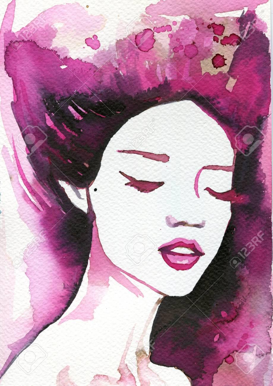 美しい女性のイラストには水彩絵の具が描かれています の写真素材