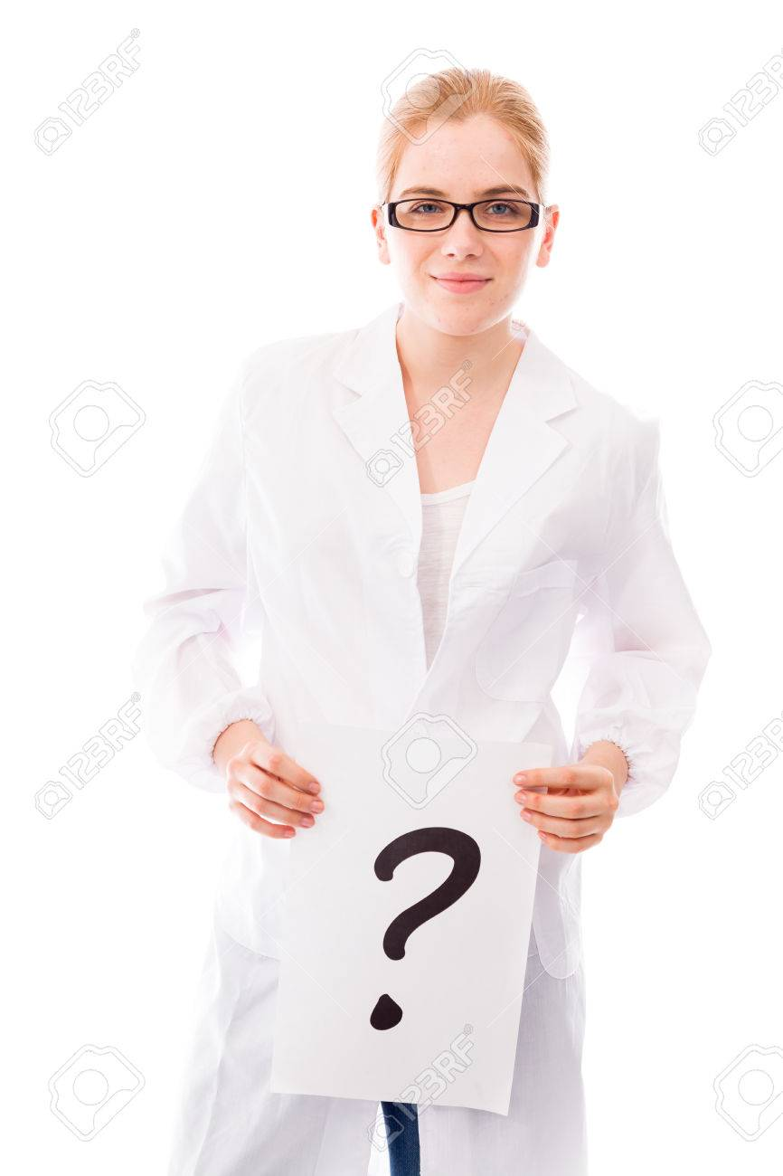 Female scientist showing question mark on white background - 29474134