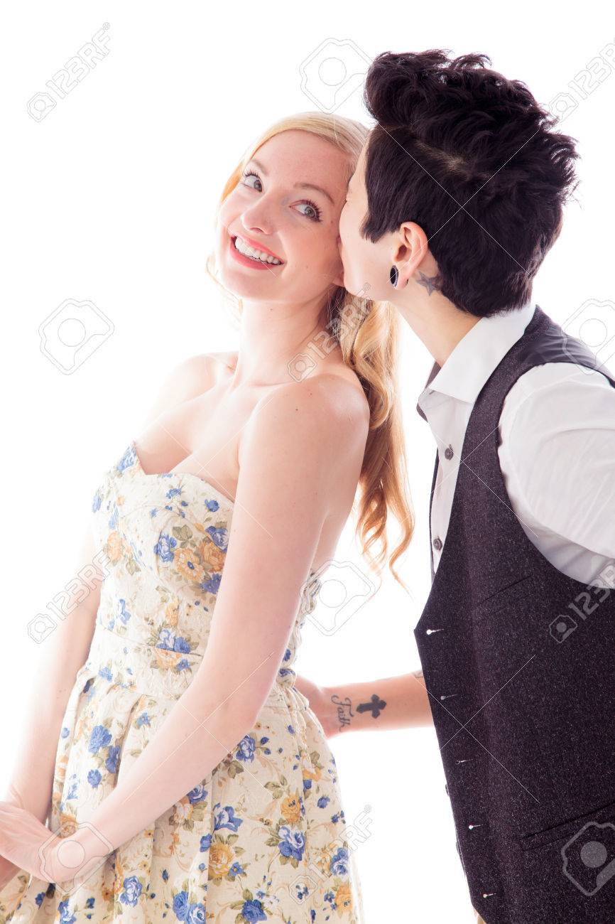 Stock Photo - Woman kissing to her lesbian partner