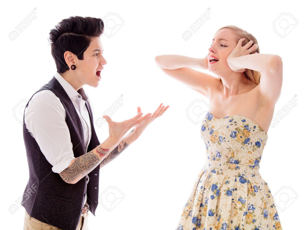 Lesbian couple fighting