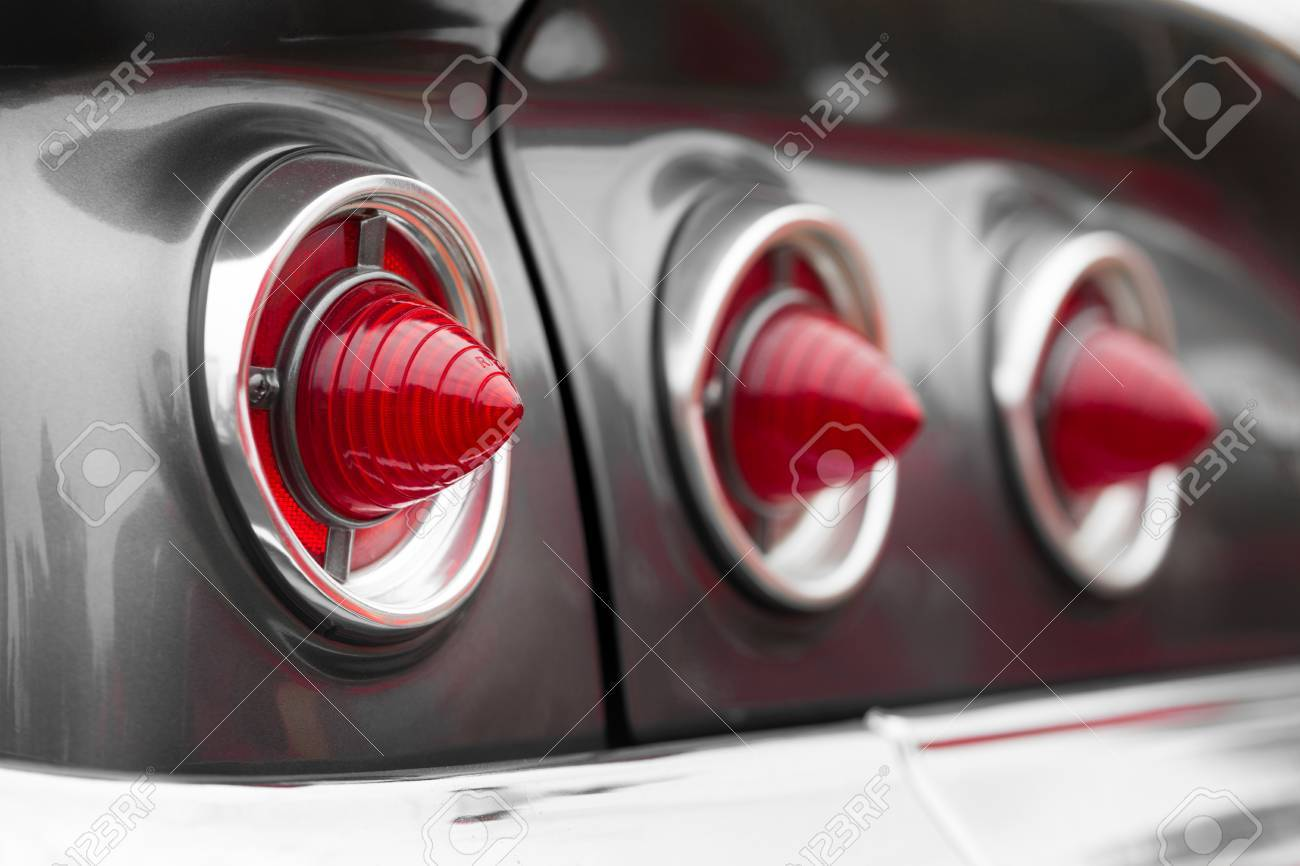 Car Tail Lights >> Close Up Of Cone Shape Tail Lights Of A Classic Vintage Car