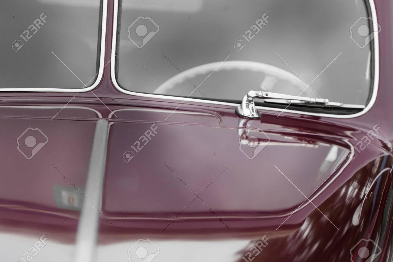 Windscreen Wiper Of A Maroon Shiny Classic Vintage Car Stock Photo ...
