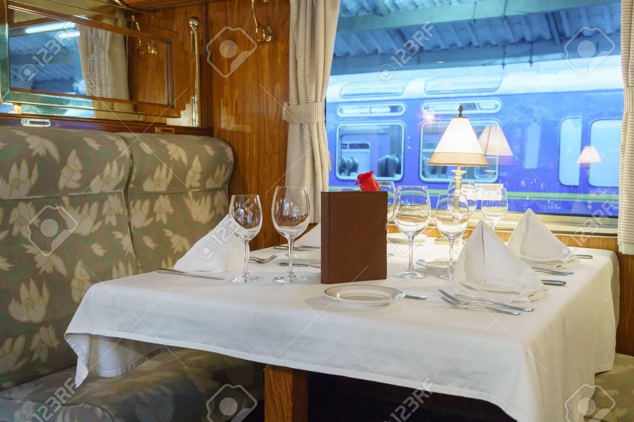 Dining Table In First Class Train Car, Machu Picchu, Cusco Region, Urubamba  Province