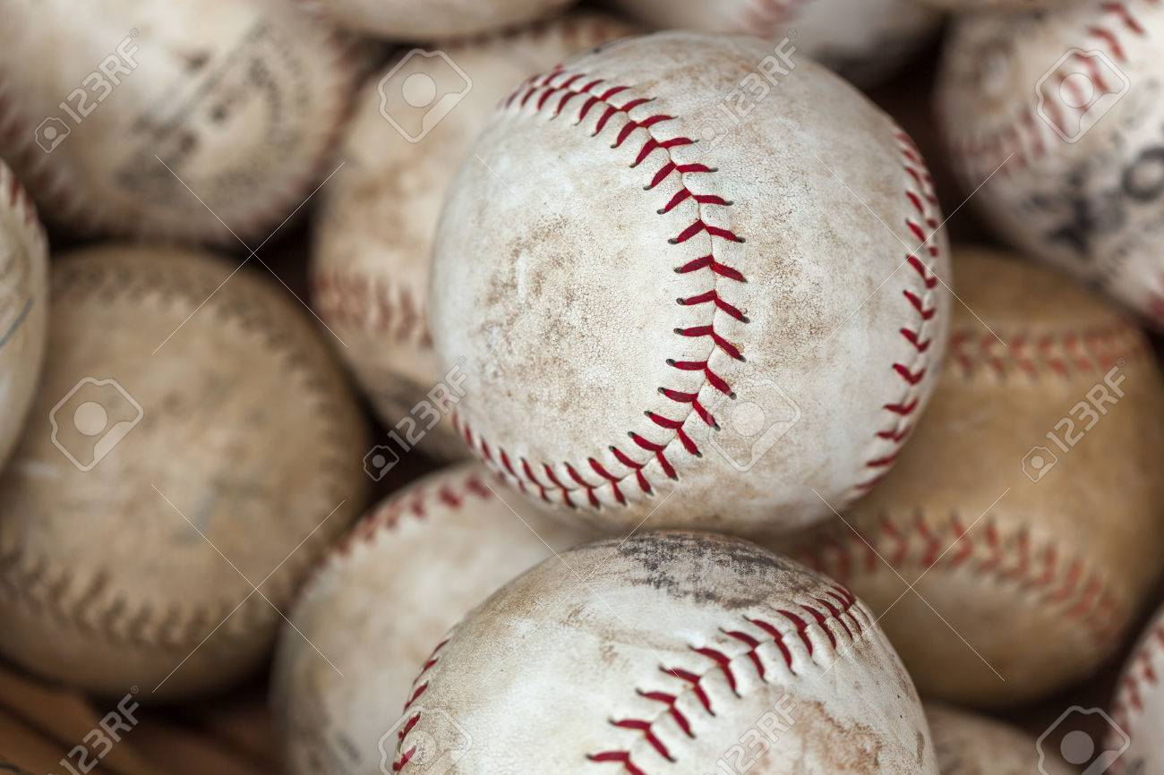 Baseballs For Sale >> Full Frame Shot Of White Old Baseballs For Sale At Flea Market Stock