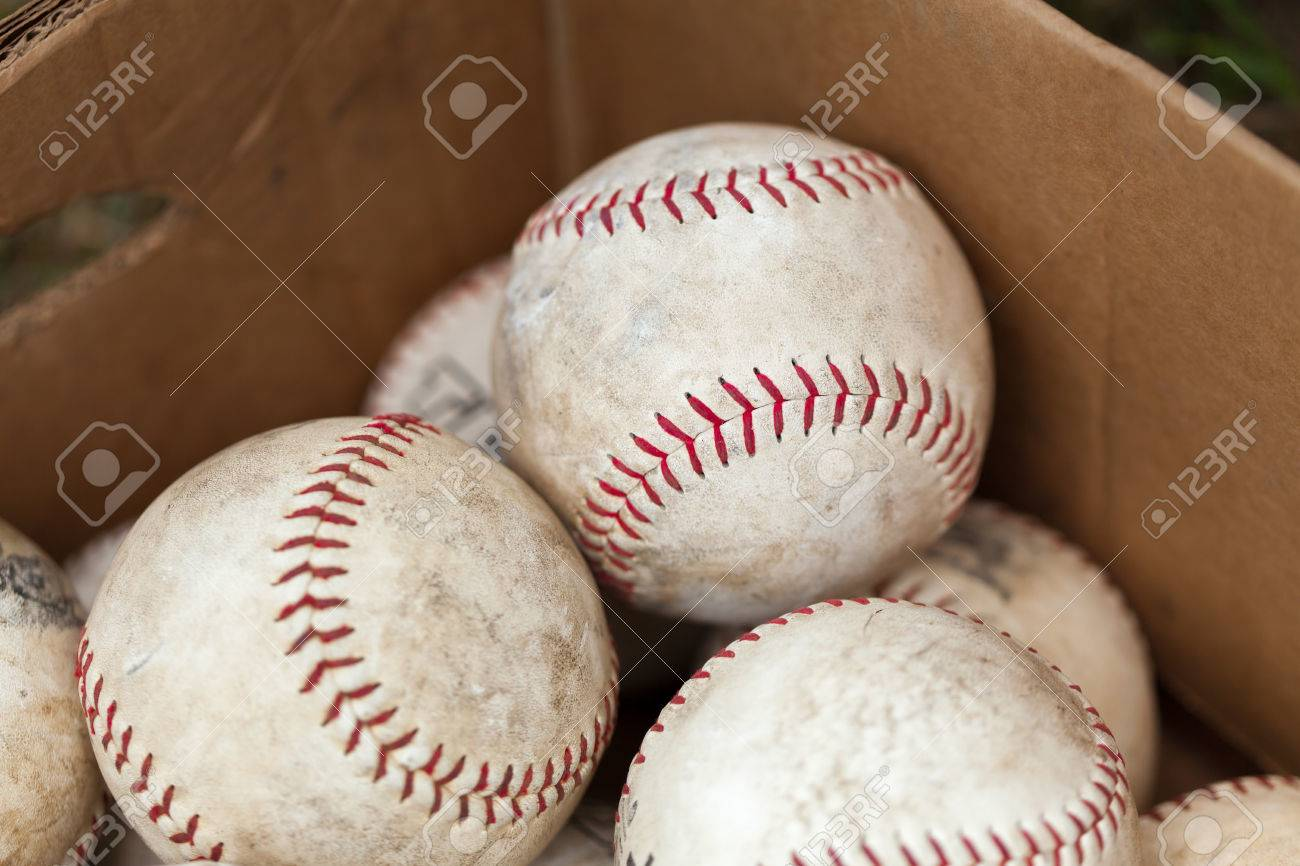 Baseballs For Sale >> Close Up Of White Old Baseballs In Cardboard Box For Sale At Stock