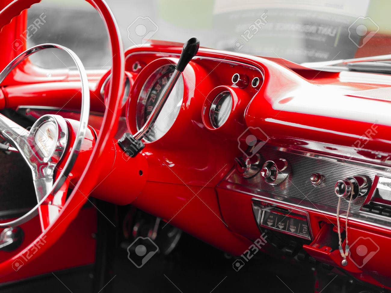 Antique Bright Color Car Car Interior Circle Close Up