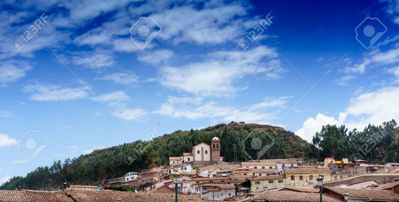 Architecture, Blue, Building Exterior, Built Structure, City, Cityscape, Cloud - Sky, Colour Image, Crowded, Cusco City, Day, Horizontal, House, Mountain, No People, Outdoors, Peru, Photography, Residential Building, Residential District, Residential Stru - 69710506