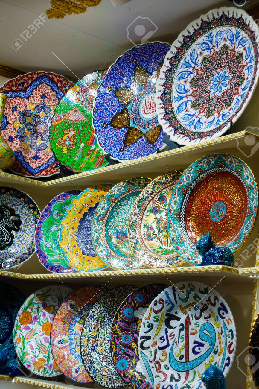 Plates For Sale >> Ceramic Plates For Sale At Market Turkey Istanbul