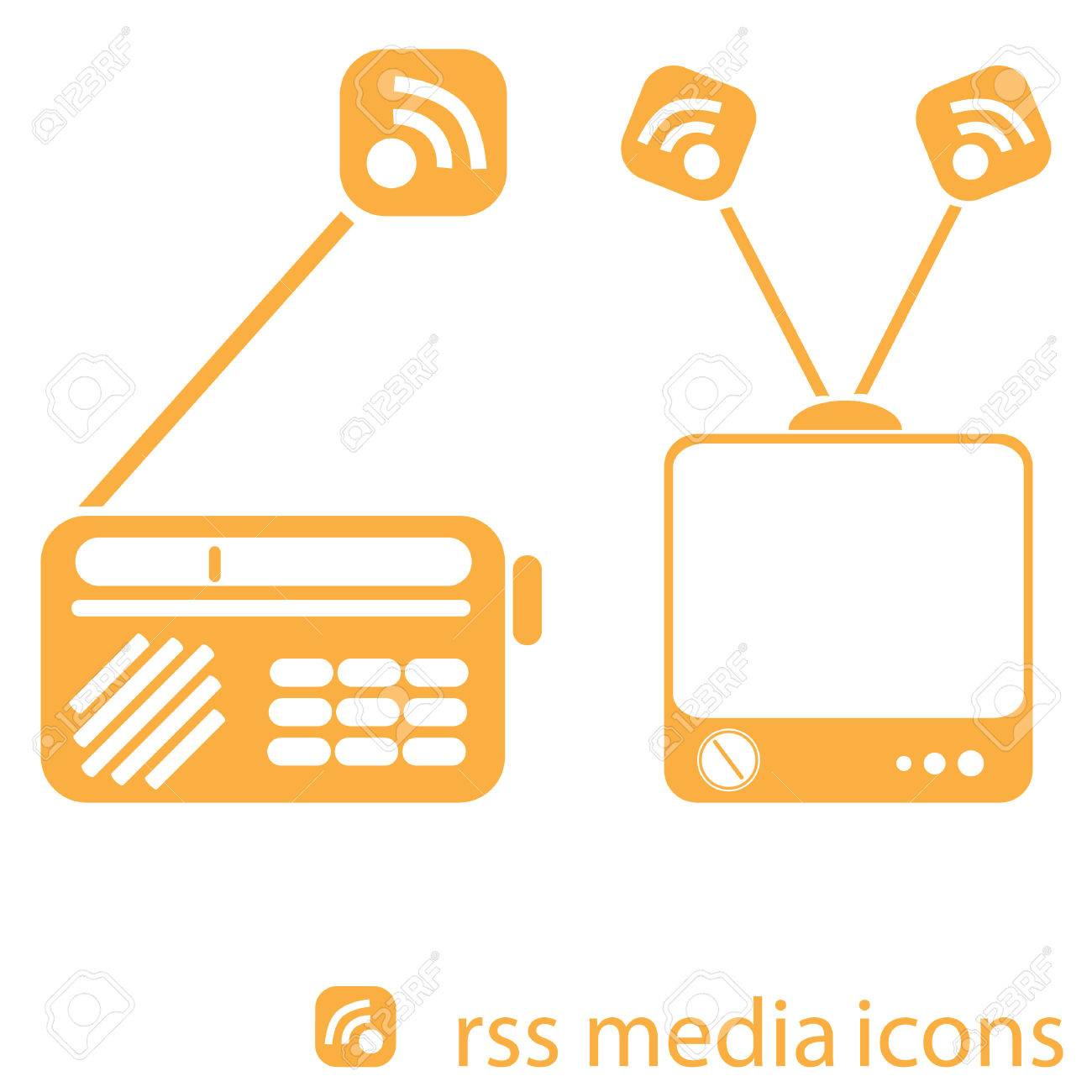 Illustration Of Vintage Radio And TV With RSS Symbol Coming Out ... for Tv Antenna Symbol  75sfw