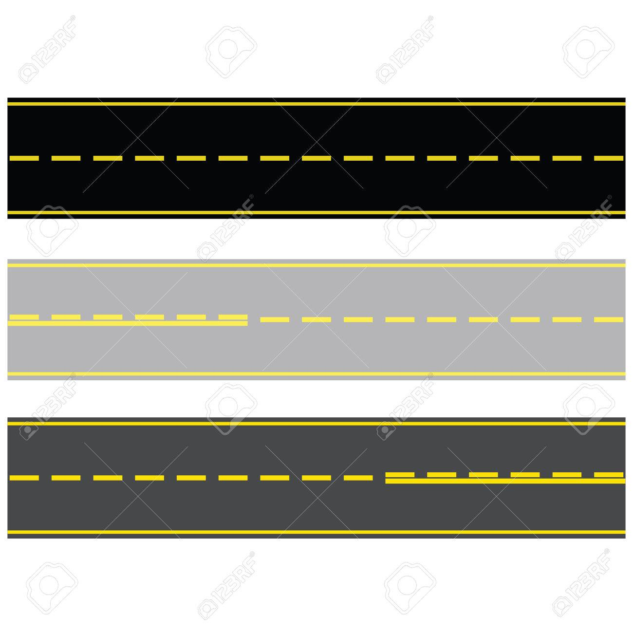 Illustration of three different types of paved roads, with asphalt and concrete - 4573171