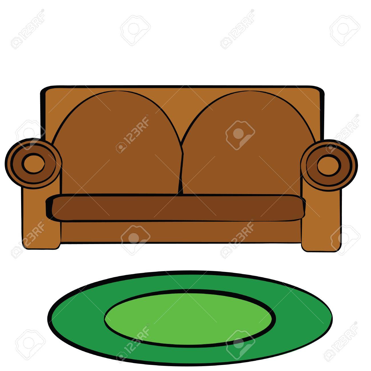 le dessin d'illustration d'un canapé en cuir brun clip art libres de