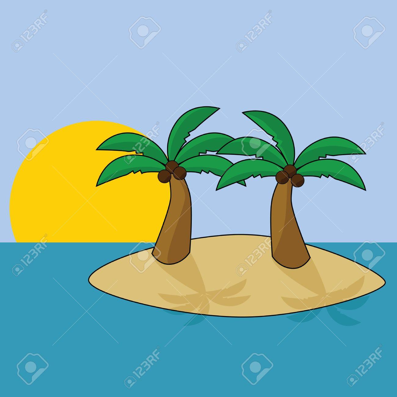 Cartoon Palm Tree Island Island With Two Palm Trees