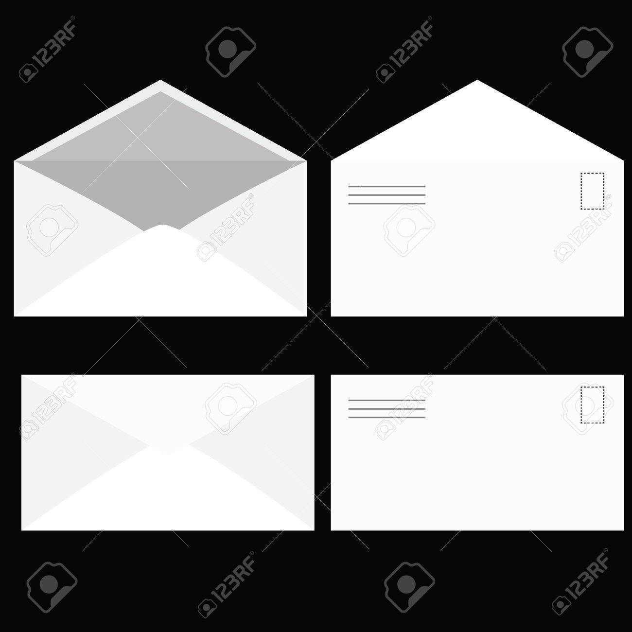 Illustration of an envelope, seen open and closed, from its front and back. Stock Vector - 4573175
