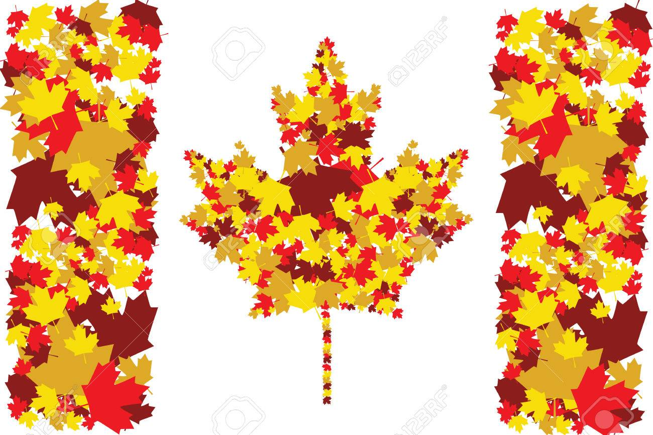 illustration of the canadian flag made up of maple leafs in