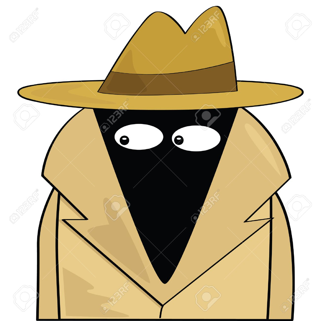 Cartoon illustration of a spy wearing a hat and trenchcoat Stock Vector - 7420063