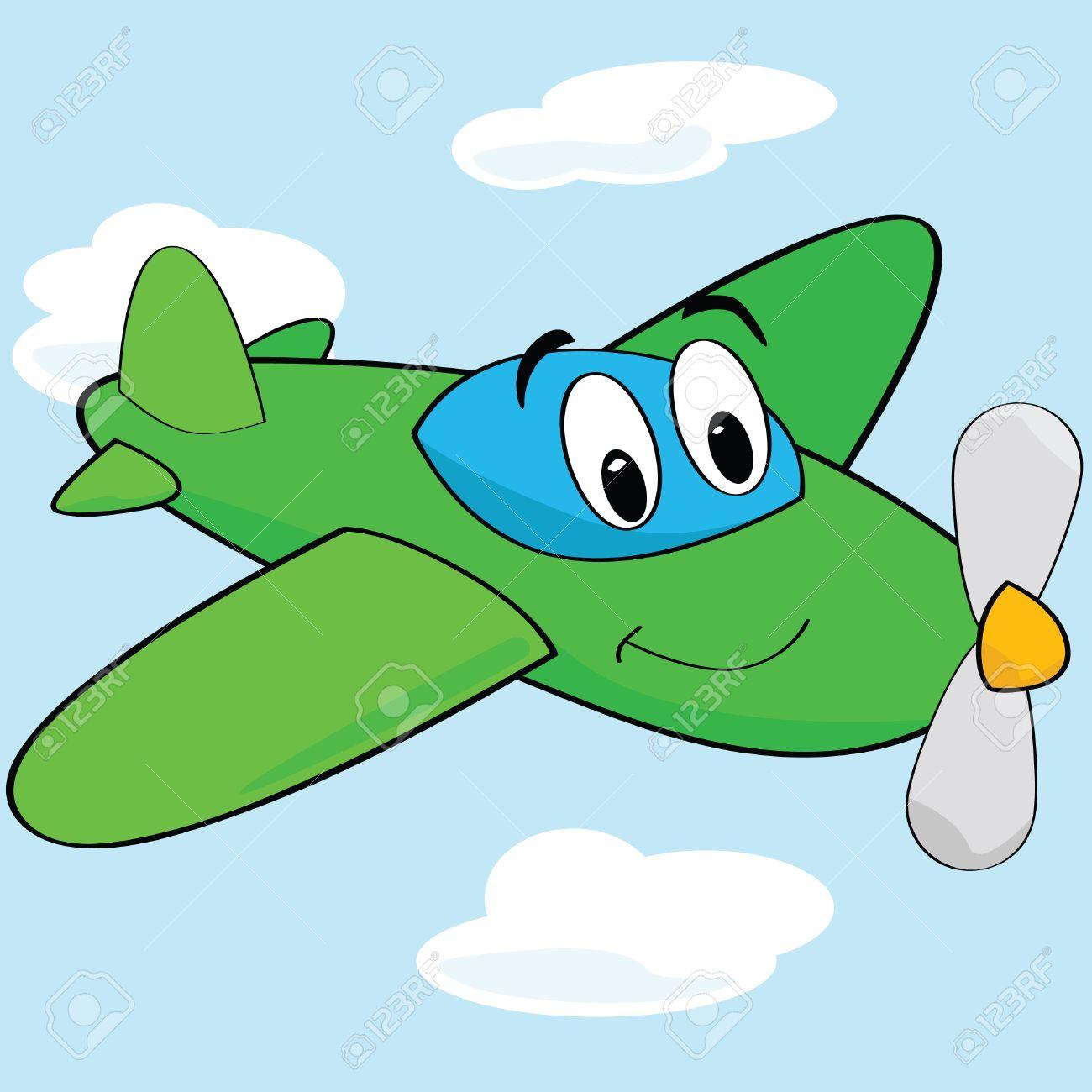 笑顔のかわいい飛行機の漫画イラストのイラスト素材ベクタ Image