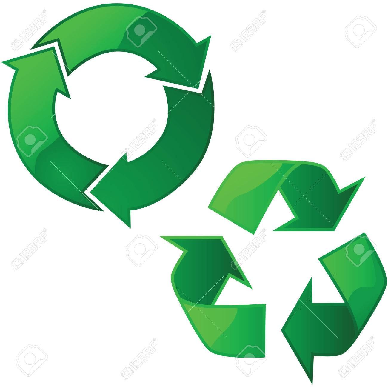 Illustration of two glossy recycling signs Stock Vector - 7420121