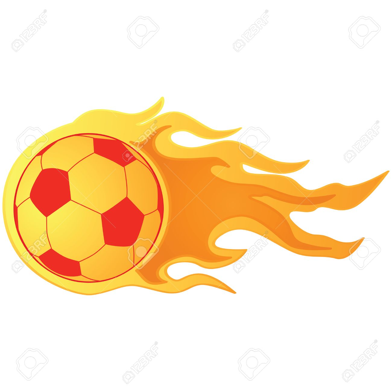 illustration of a fast moving soccer ball on fire royalty free
