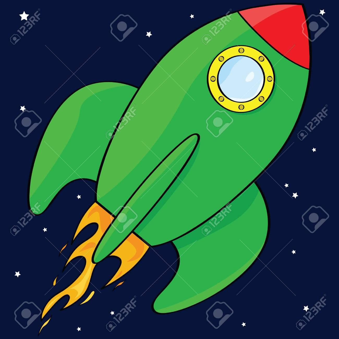 Cartoon illustration of a green rocket ship in space Stock Vector - 7420124