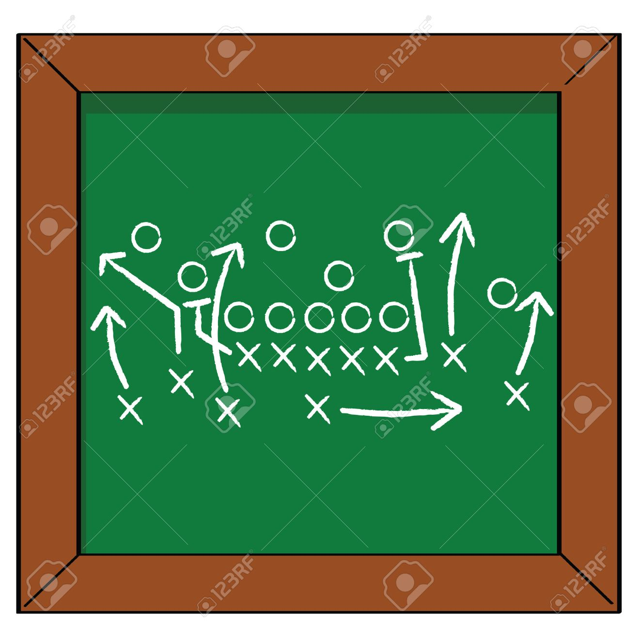 Cartoon illustration of a football game plan on a blackboard Stock Vector - 7530372