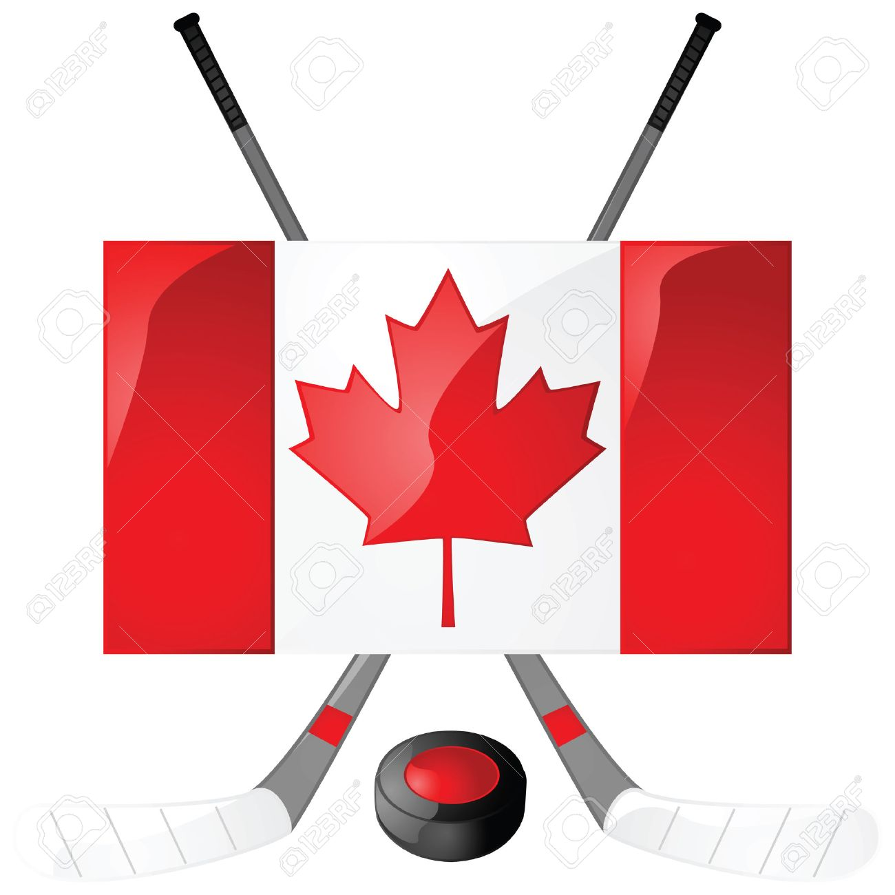 Illustration Of Hockey Sticks Puck And A Canadian Flag Royalty Free