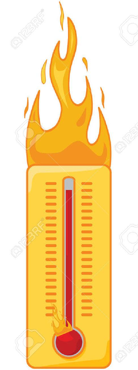 Cartoon illustration of a thermometer on fire to show it's too hot Stock Vector - 7885540