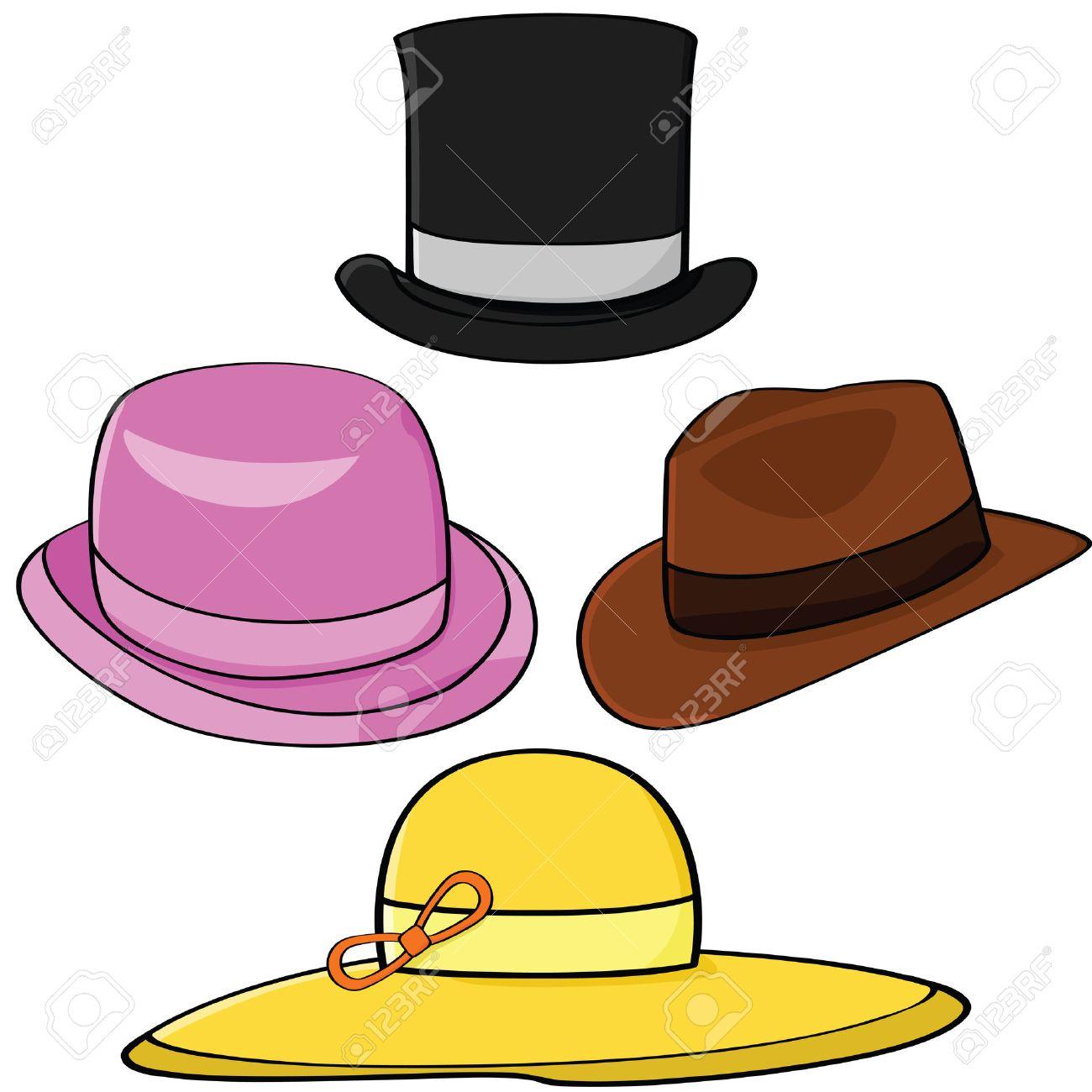 Conjunto de ilustración de dibujos animados de cuatro sombreros diferentes  Foto de archivo - 7933506 581aeb12407