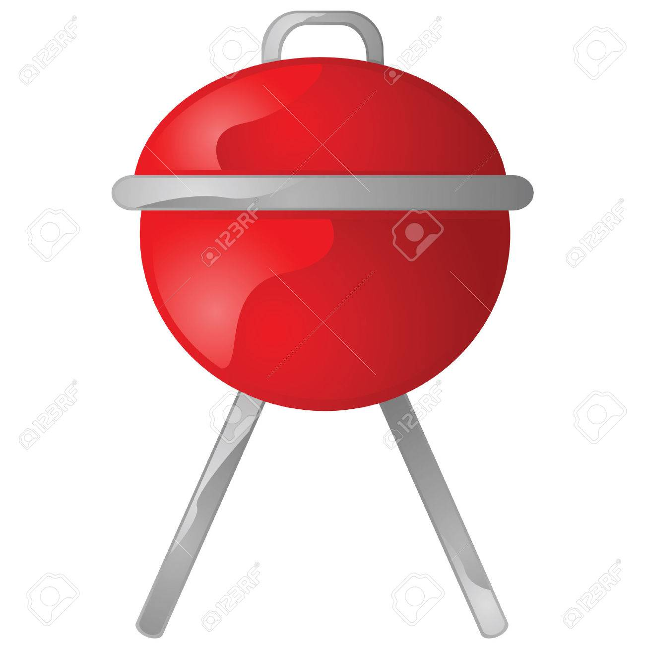 Glossy illustration of a red portable round barbecue grill Stock Vector - 7933512