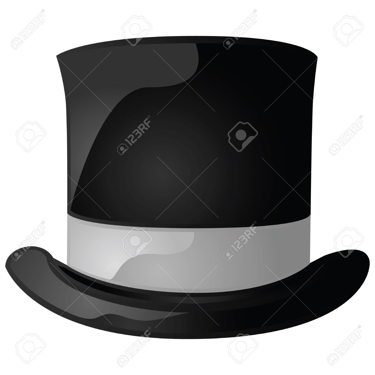 Glossy illustration of a black and gray top hat Stock Vector - 7933510