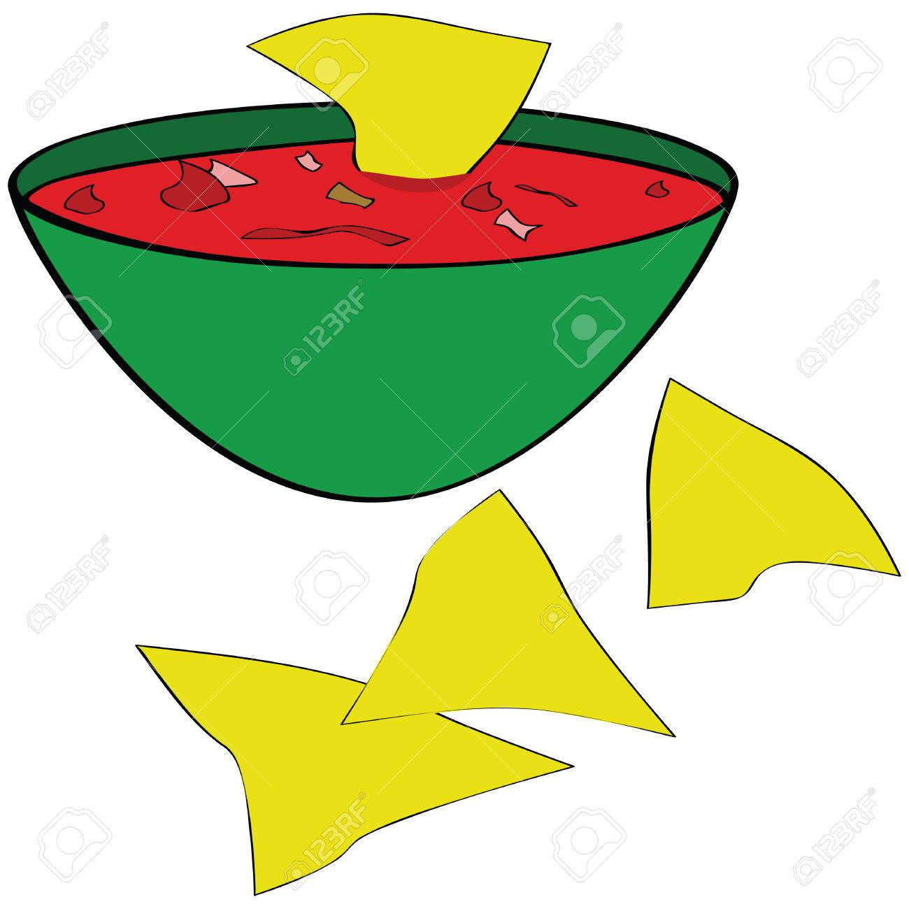 Illustration of corn tortilla chips served with a bowl of salsa Stock Vector - 7933518