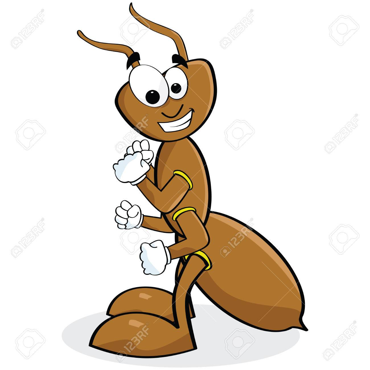 Cartoon illustration of a smiling brown ant Stock Vector - 8020933