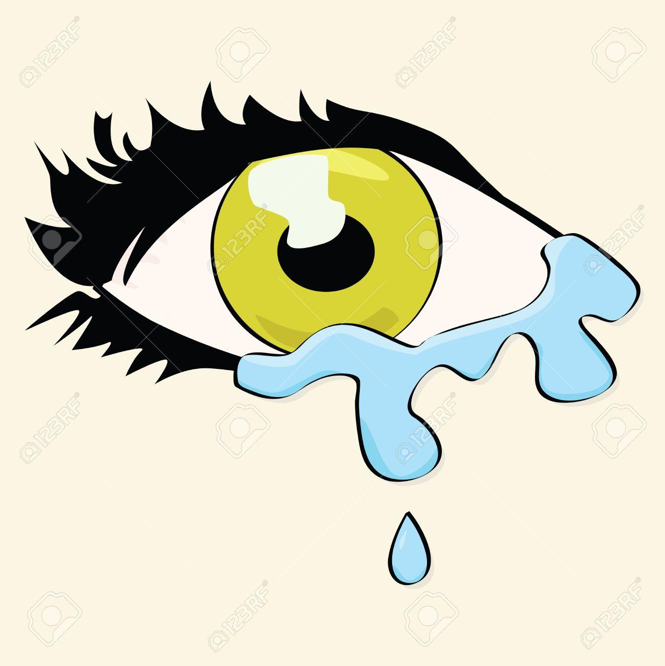 Dibujo Animado De Ilustración De Los Ojos De Una Mujer Llorando