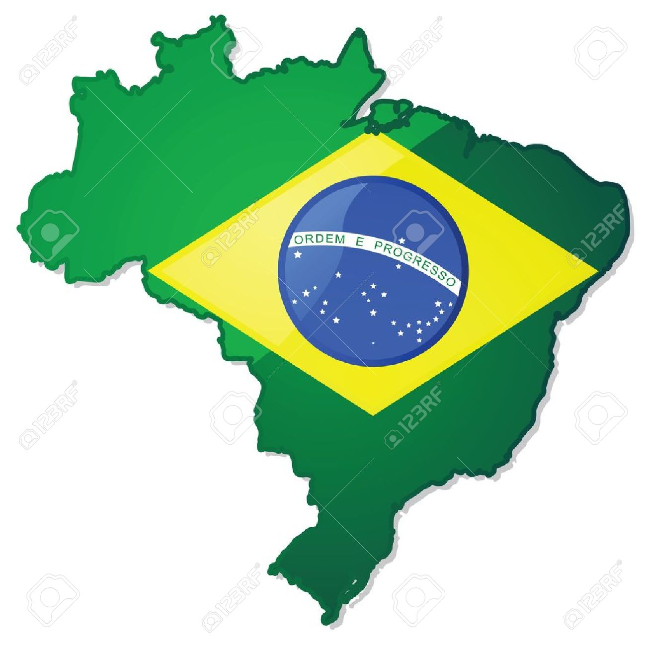 Glossy Illustration Of A Map Of Brazil With The Brazilian Flag - Brazil map illustration