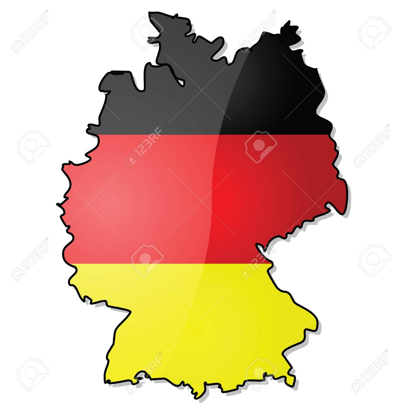 Map Of Germany Over The Years.Glossy Illustration Showing The Map Of Germany With Its Flag