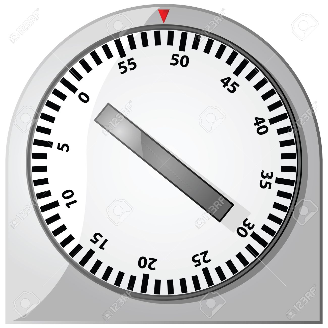 Glossy illustration of an analog 60-minute timer