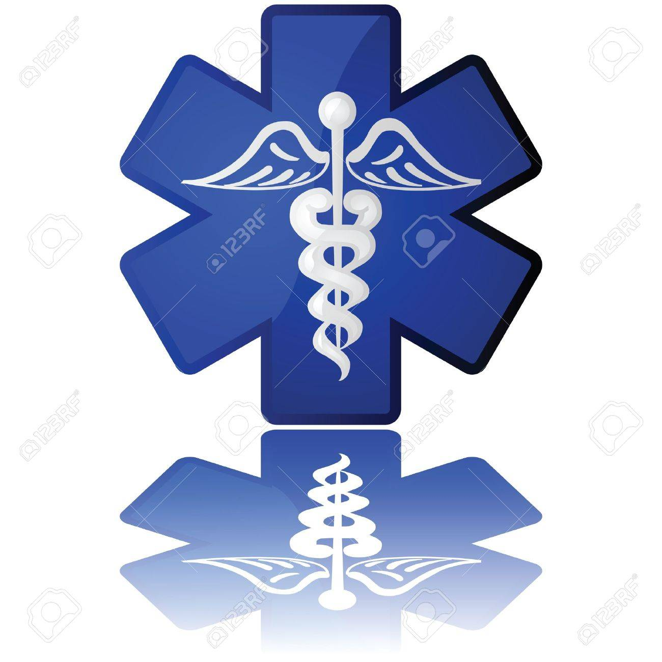 Glossy illustration in white and blue showing a medical icon Stock Vector - 9473881