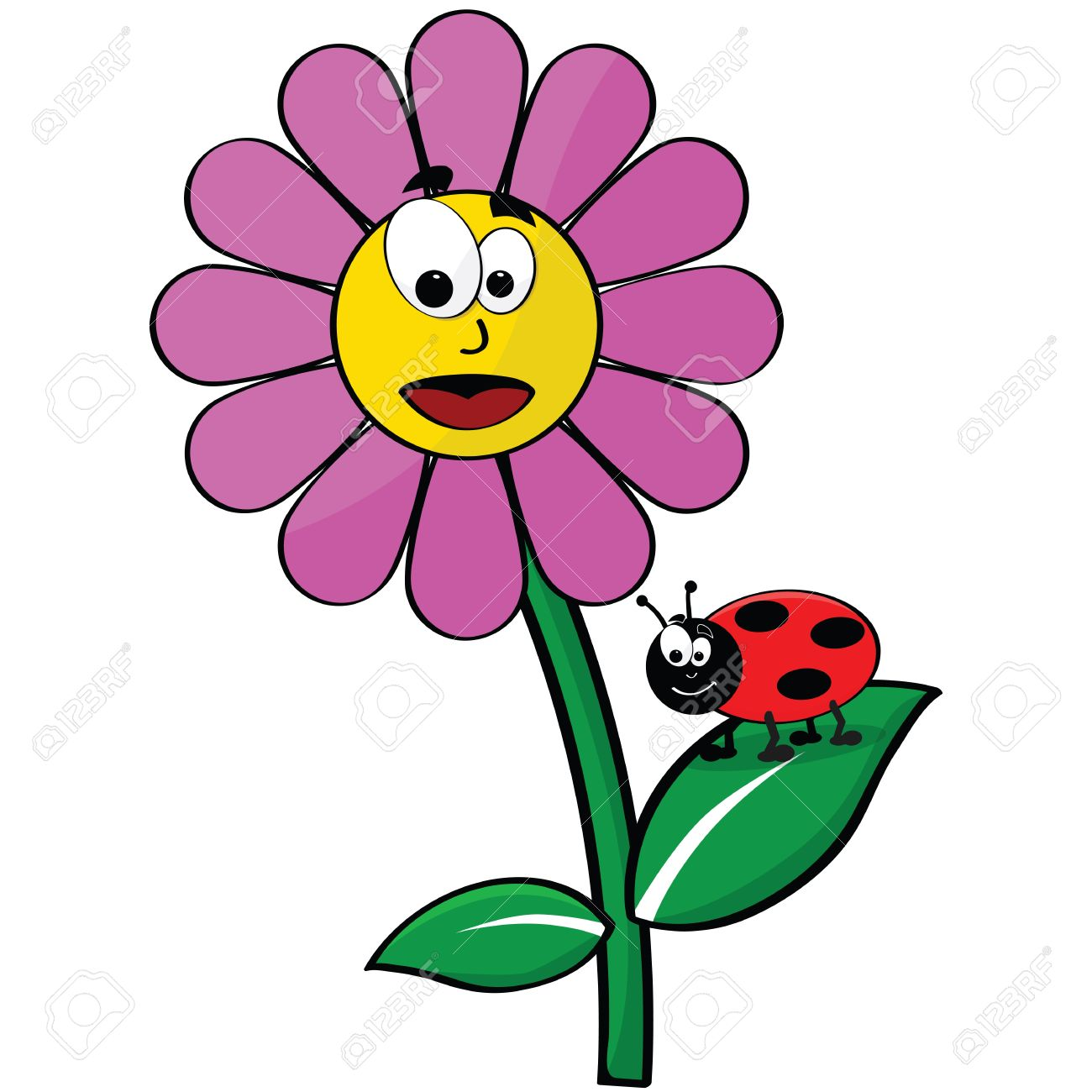 Cartoon illustration showing a happy flower and a ladybug - 9517543