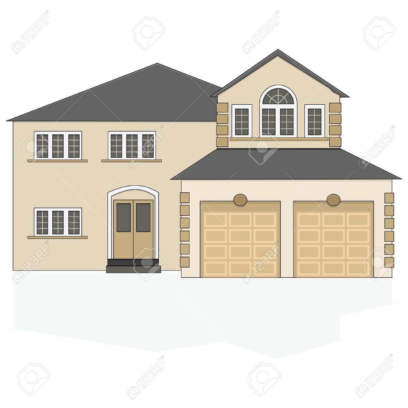 illustration of a fancy north american suburban home with a two illustration of a fancy north american suburban home with a two car garage stock vector