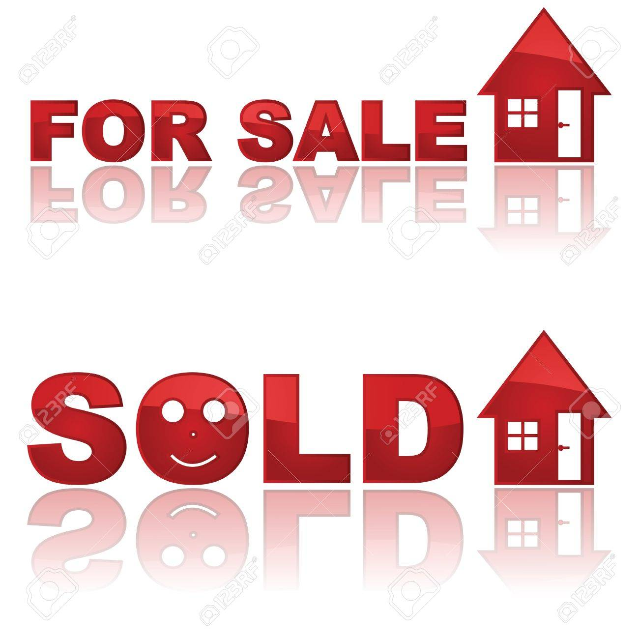 Set of two glossy real estate signs showing a house for sale and another one sold Stock Vector - 9864322