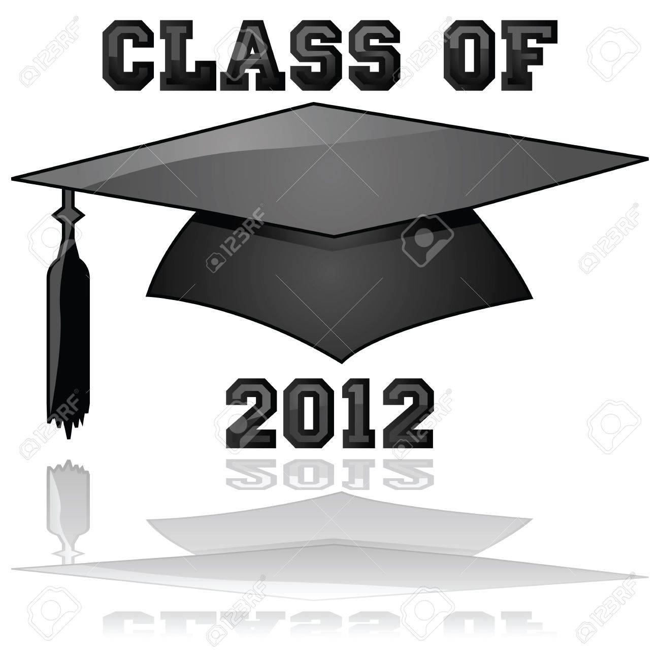 Glossy illustration of a hat and the words Class of 2012, reflected on a clear background Stock Vector - 9930728