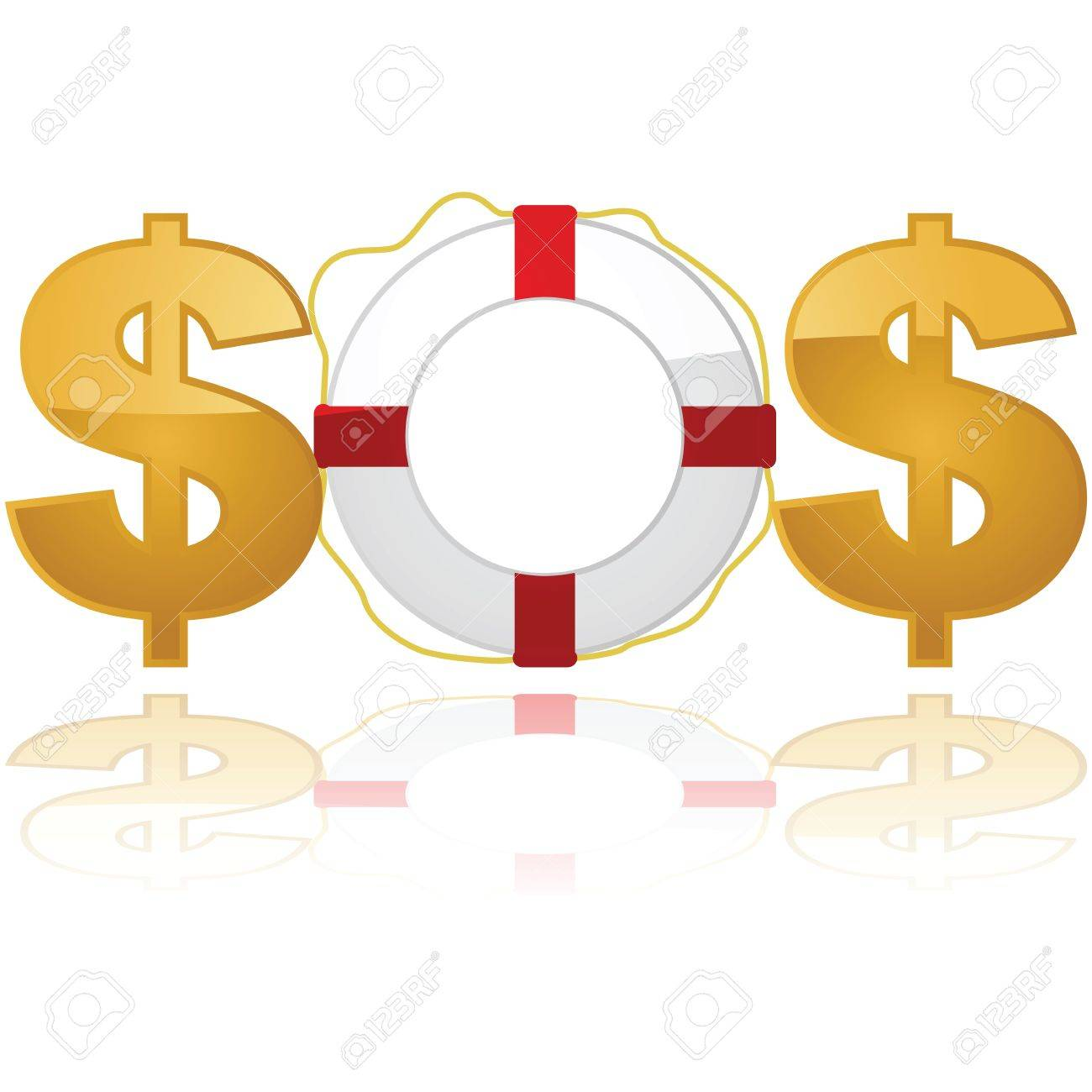 Concept illustration showing a lifesaver between two $ signs, spelling out the emergency code SOS Stock Vector - 9930733