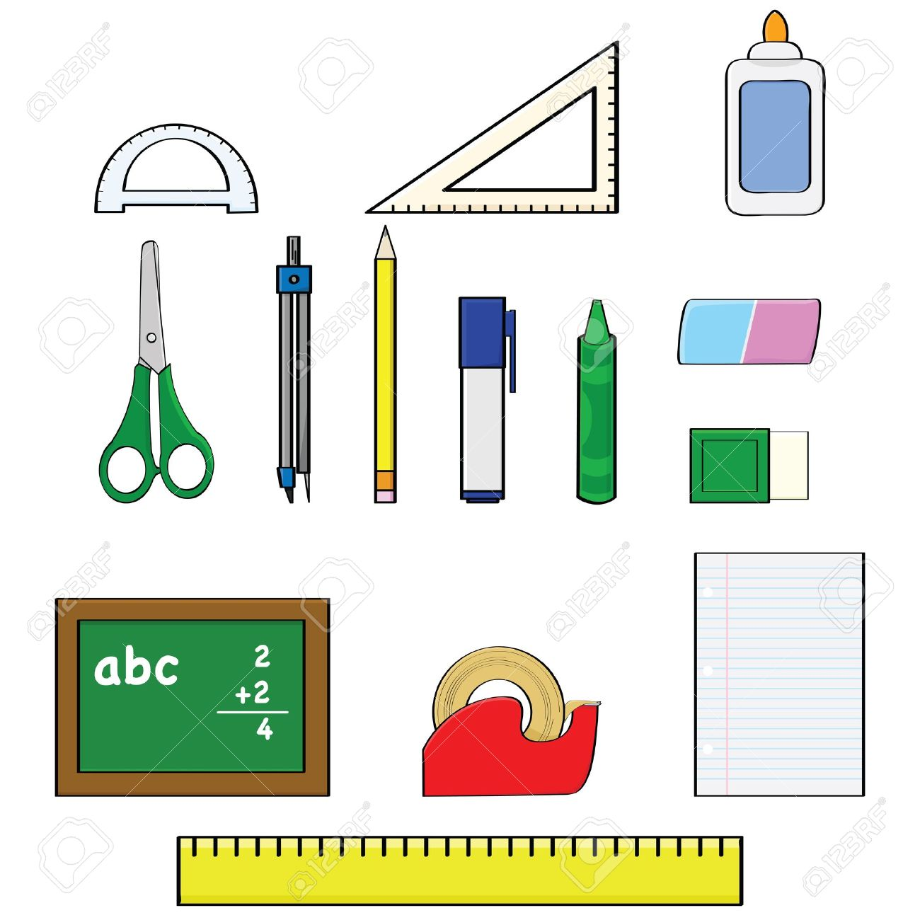 Cartoon illustration set showing different school supplies, such as pencils, rulers and erasers Stock Vector - 10085180