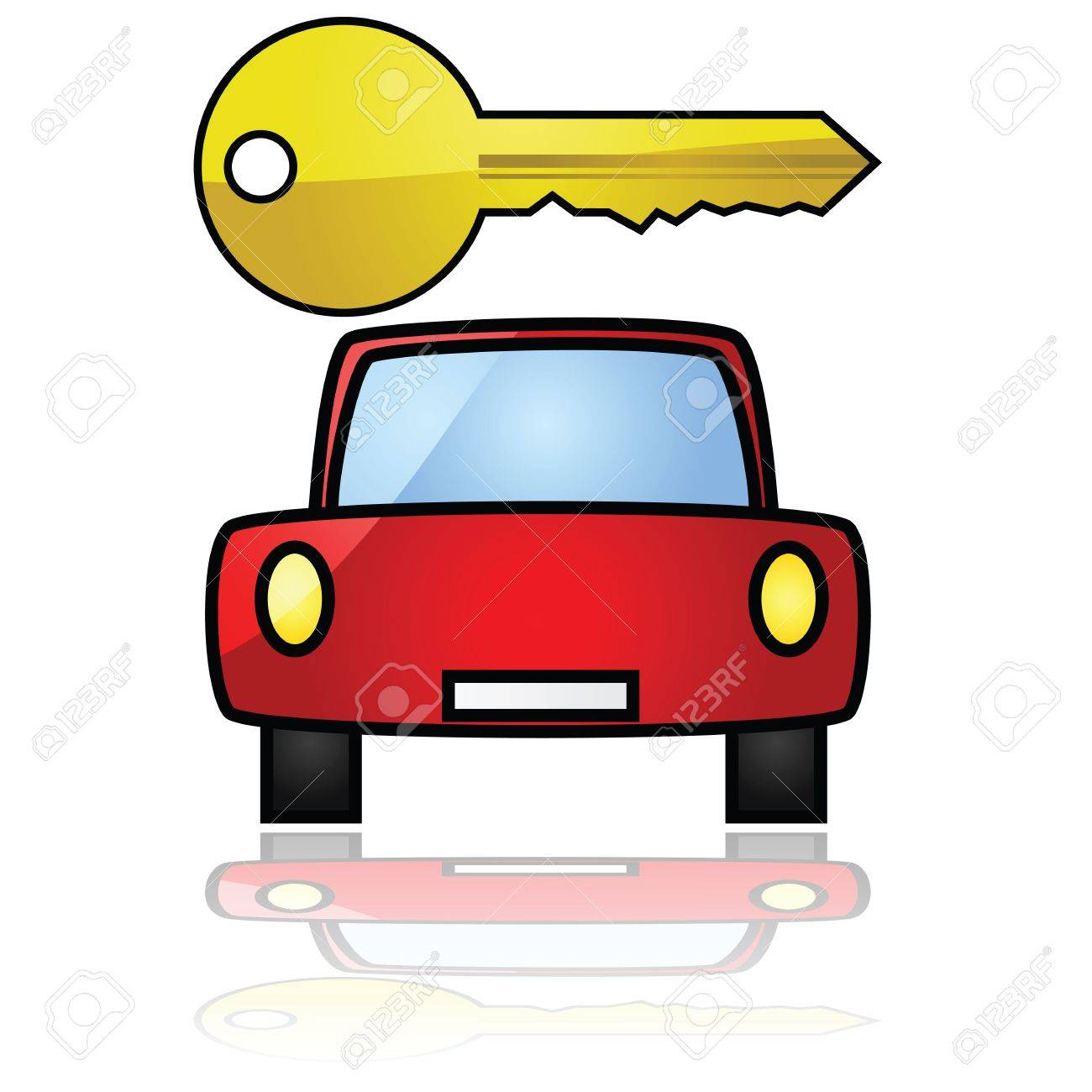 Glossy illustration showing a compact car with a key over it Stock Vector - 10085185