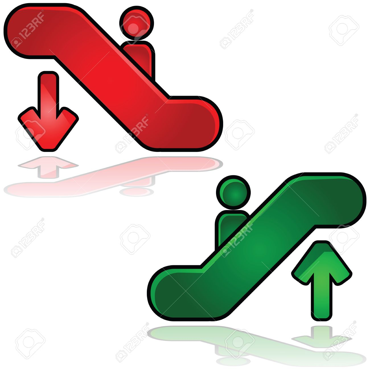 Glossy illustration of escalators signs: one going up and another down Stock Vector - 10085184